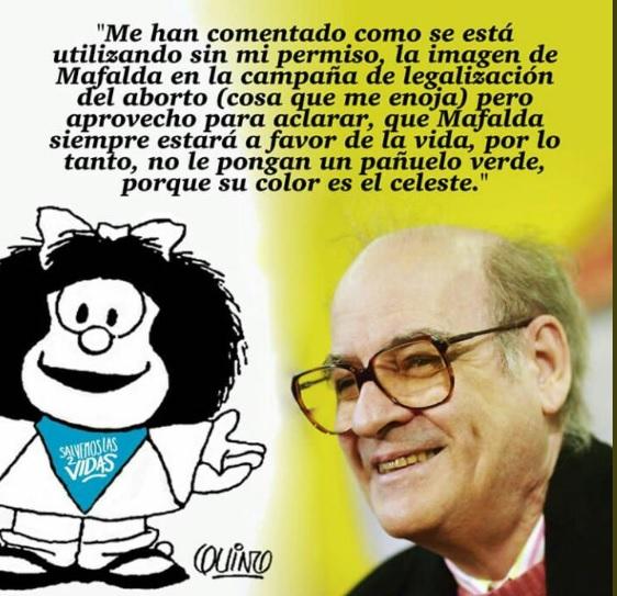 Quino desmiente que Mafalda apoye el aborto legal en Argentina