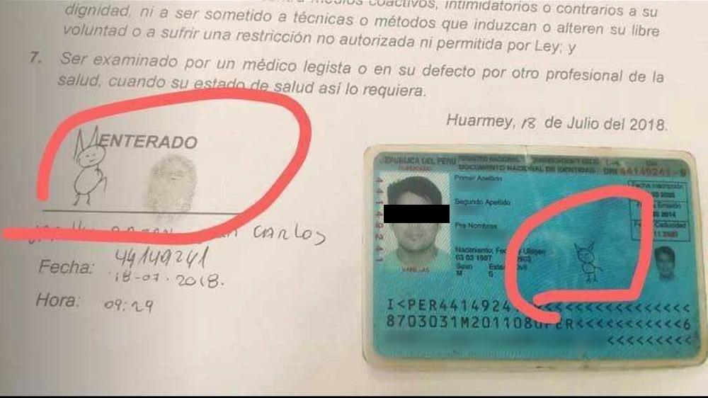 Peruano firma su identificación oficial con un gato