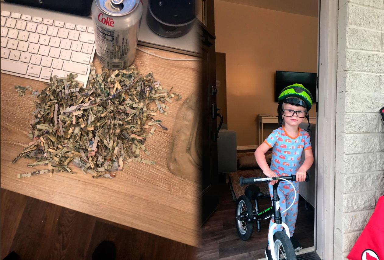 Este pequeño angelito metió los ahorros de sus padres en una trituradora