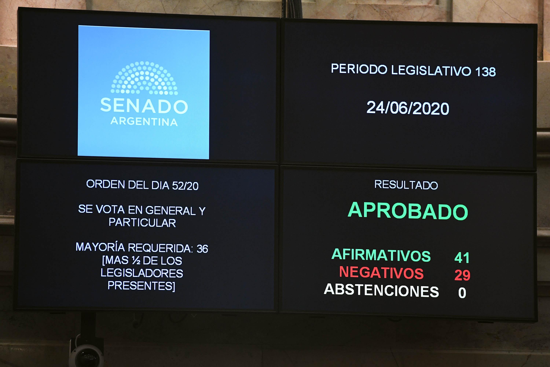 Claudia de Zamora participó desde Santiago del Estero la sesión del Senado