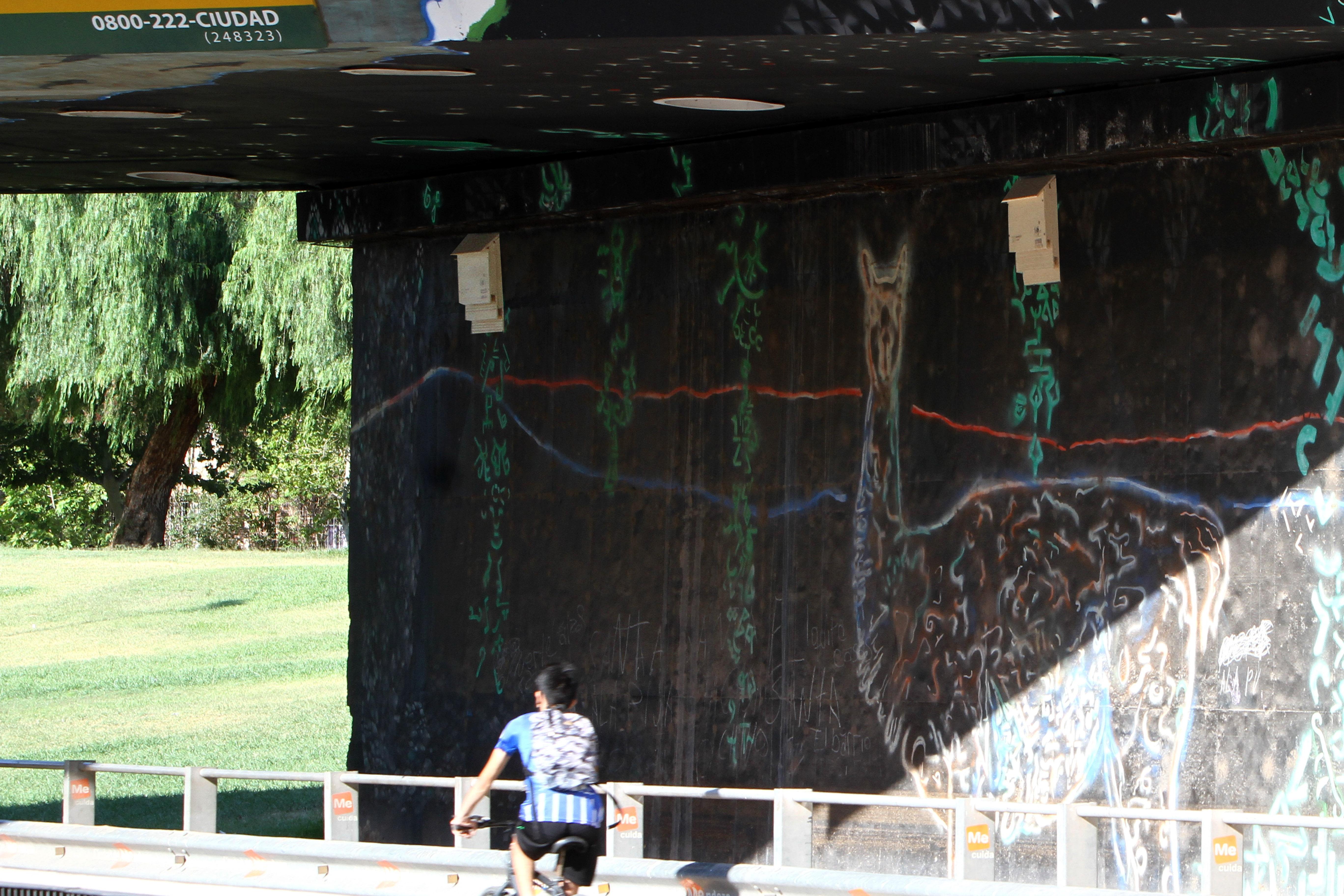 Puente del Parque Central donde se ve un refugio de murciélagos.